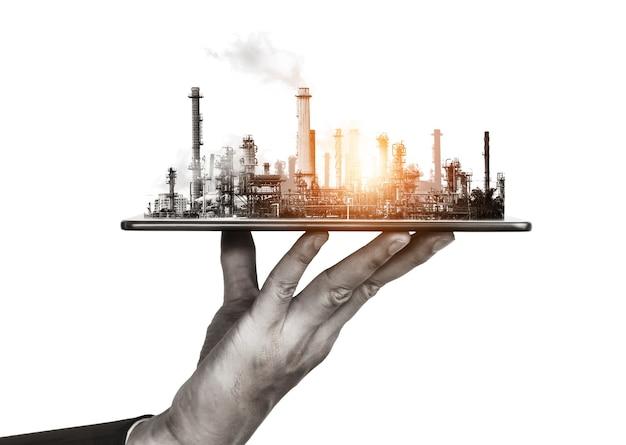 Futuro concepto de industria de energía y planta de fábrica
