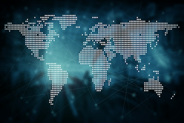 Futuro moderno fondo de concepto de tecnología de conexión de red global