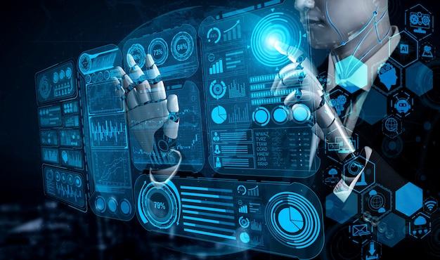 Futuro robot de inteligencia artificial y cyborg.