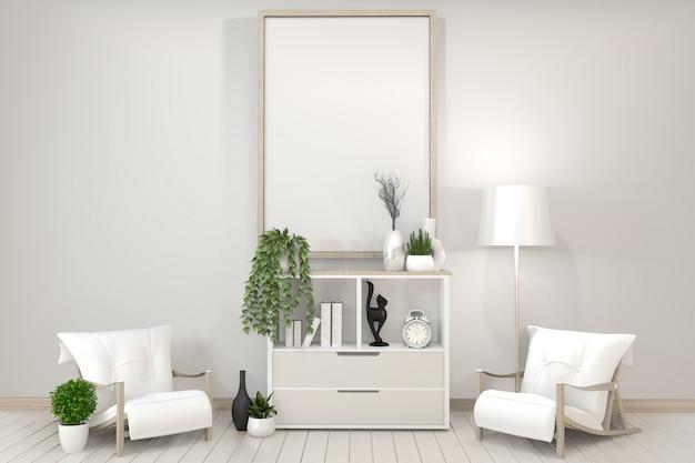 Gabinete blanco, marco, silla y plantas decorativas. estilo zen. representación 3d.