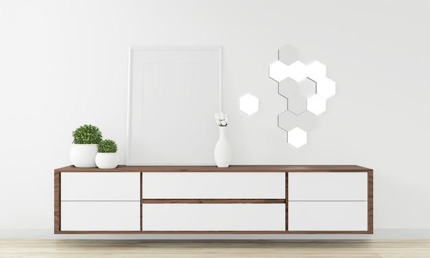 Gabinete diseño de madera en una habitación vacía moderna estilo japonés - zen, diseños minimalistas. renderizado 3d
