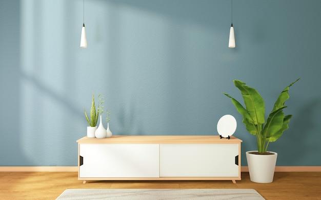 Gabinete e hizo un gran árbol decorado en una moderna sala de estar zen sobre fondo de pared azul oscuro, representación 3d