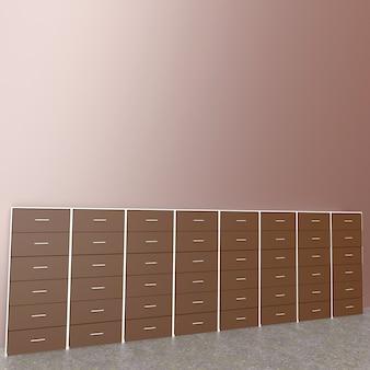 Gabinete en habitación, renderizado 3d