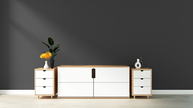 Gabinete en la habitación vacía moderna, pared azul negra en el piso de madera, representación 3d