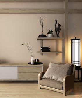 Gabinete de madera estilo japonés en la habitación ryokan y decoración estilo japonés diseño minimalista, representación 3d