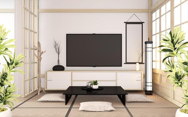 Gabinete de madera minimalista en habitación estilo japonés. renderizado 3d