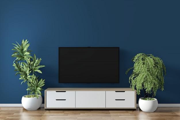 Gabinete maqueta en la habitación azul oscuro en el piso de diseño minimalista de madera. renderizado 3d