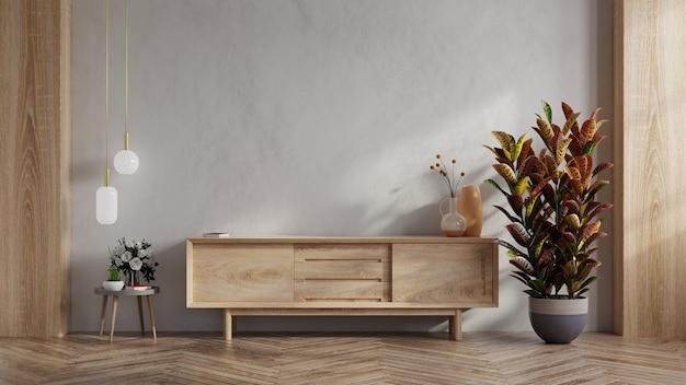 Gabinete mínimo simple para maqueta de pared interior de tv, renderizado 3d