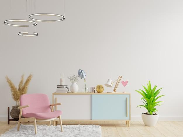 Gabinete en la moderna sala de estar con sillón sobre fondo de pared blanca. representación 3d