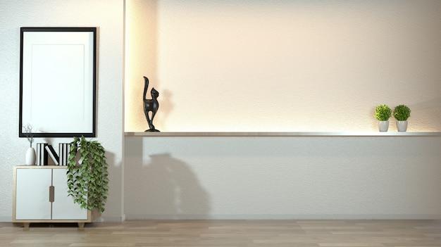 Gabinete en la moderna sala de estar zen con decoración estilo zen en pared blanca con luz oculta de diseño.