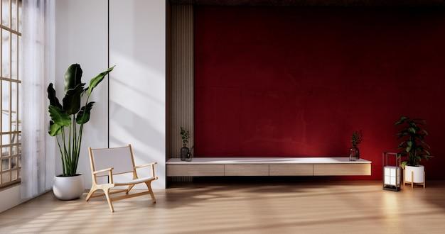 Gabinete en la sala de estar con pared roja y sillón. representación 3d