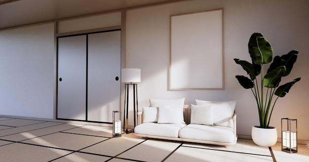 Gabinete en la sala de estar con piso de tatami y diseño de sillón sofá. representación 3d