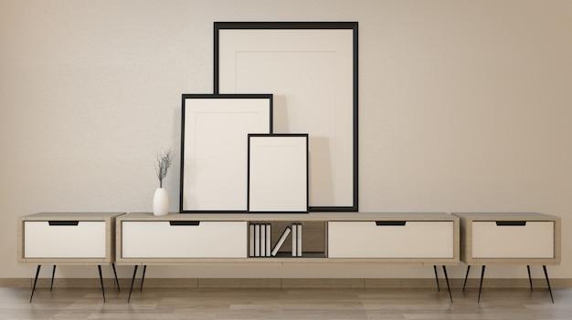 Gabinete en la sala de estar zen en pared blanca, renderizado 3d