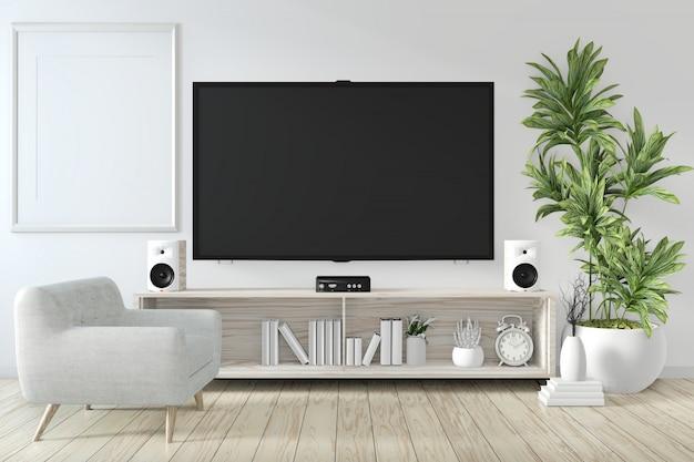 Gabinete y televisión inteligente en la pared con decoración sala zen estilo japonés representación 3d