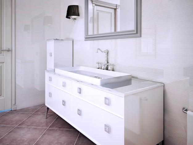 Gabinetes blancos brillantes en estilo moderno de baño privado. render 3d