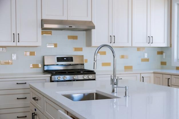 Gabinetes domésticos modernos con electrodomésticos nuevos y fregadero en la cocina.