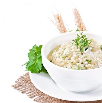 Gachas de trigo con hierbas
