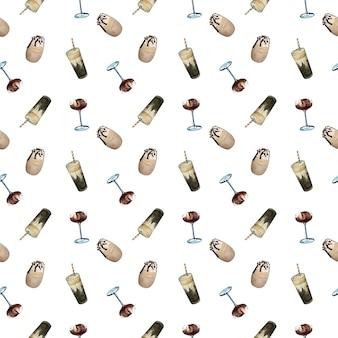 Gafas de café frío acuarela de patrones sin fisuras