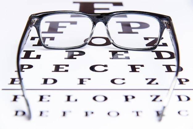 Gafas se encuentran en la mesa para el examen de los ojos.