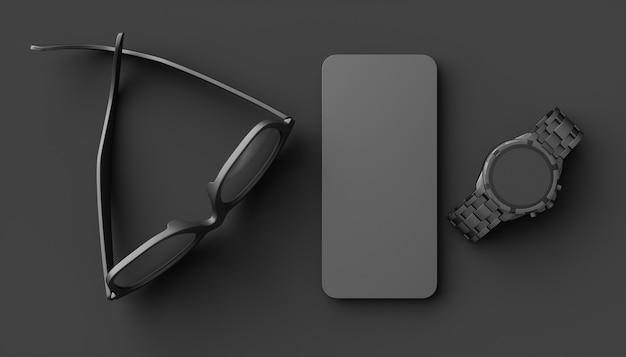 Gafas junto a un teléfono celular y un reloj de pulsera sobre un fondo negro, ilustración 3d