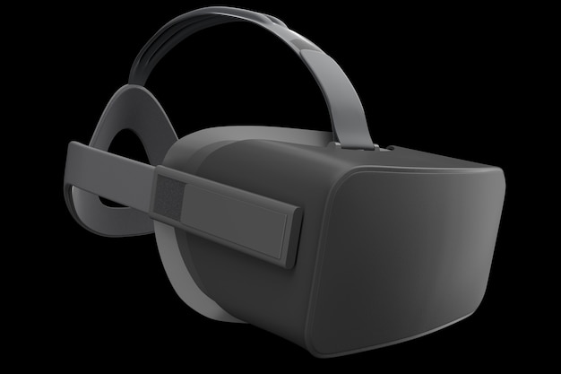 Gafas de realidad virtual aisladas en negro con trazado de recorte d renderizado