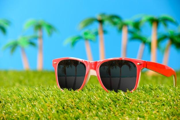 Gafas de sol sobre hierba con palmeras