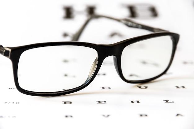 Gafas en tabla optométrica. fondo del dispositivo óptico