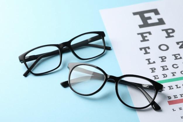 Gafas y tabla de prueba ocular sobre superficie azul, primer plano