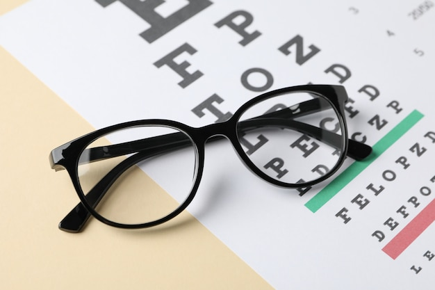 Gafas y tabla de prueba ocular en superficie beige, primer plano