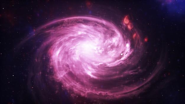 Galaxia brillante estrellas abstractas sobre fondo negro. textura fractal de fantasía en colores rojo, rosa y morado claro. arte digital. ilustración 3d