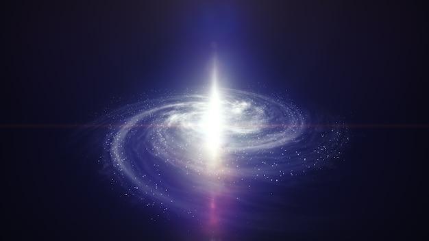 Galaxia púrpura con quasar en el centro