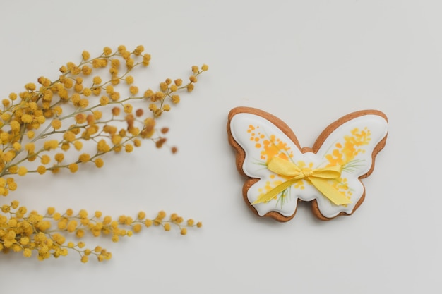 Galleta de jengibre en forma de mariposa y flores de mimosa sobre fondo blanco. primavera, concepto de feliz pascua. espacio de copia de vista superior