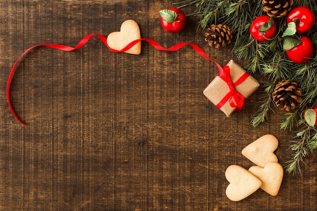 Galletas de corazón con caja de regalo pequeña