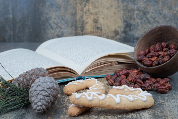 Galletas de jengibre, escaramujos secos y libro abierto sobre fondo de mármol. foto de alta calidad
