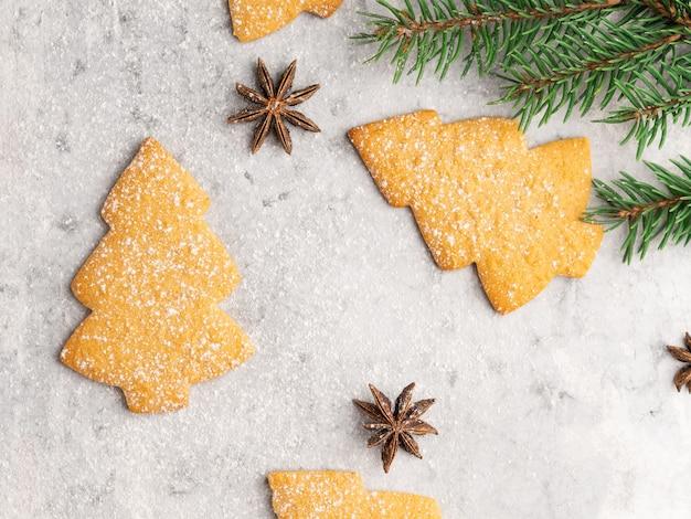 Galletas tradicionales de pan de jengibre y miel, forma de árbol de navidad, ramas de abeto, estrellas de anís, palitos de canela y marco de azúcar en polvo. tarjeta de invierno y navidad, blanca.