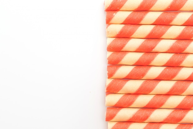 Galletas wafer stick con sabor a crema de fresa