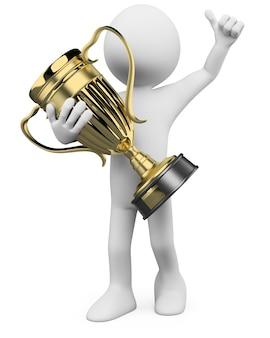 Ganador 3d con un trofeo de oro en las manos.