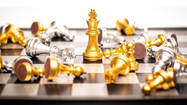 Ganador del concepto de negocio, juego de tablero de ajedrez