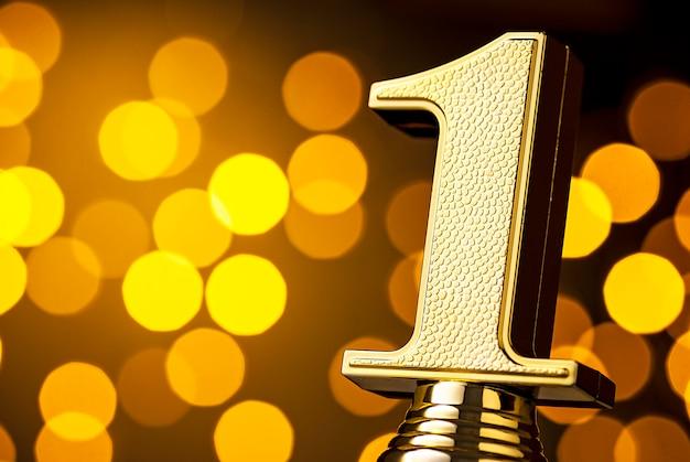 Ganadores del primer lugar trofeo de premio con número de oro