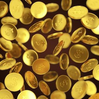 Ganar dinero, éxito empresarial, finanzas, riqueza, casino y concepto de premio mayor: monedas de oro cayendo sobre fondo oscuro
