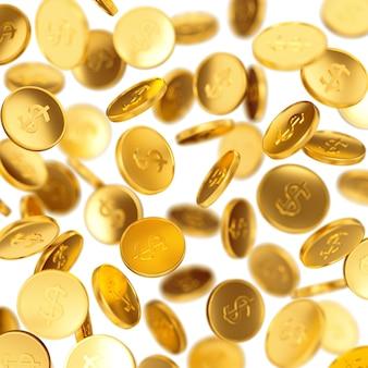 Ganar dinero, éxito empresarial, finanzas, riqueza, casino ganar y concepto de premio mayor: monedas de oro que caen aisladas sobre fondo blanco