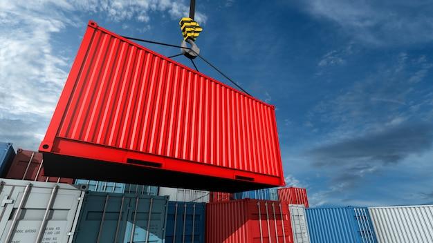 Gancho de grúa con una carga roja containe