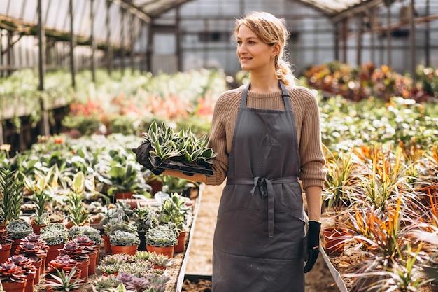 Gardner mujer cuidando las plantas en un invernadero