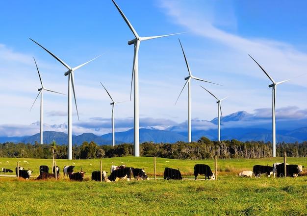 Generador de energía de granja de turbinas eólicas en un hermoso paisaje natural para la producción de energía renovable.