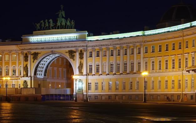 General, personal, edificio, noche