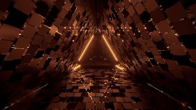 Genial figura triangular geométrica en una luz láser de neón, ideal para el fondo