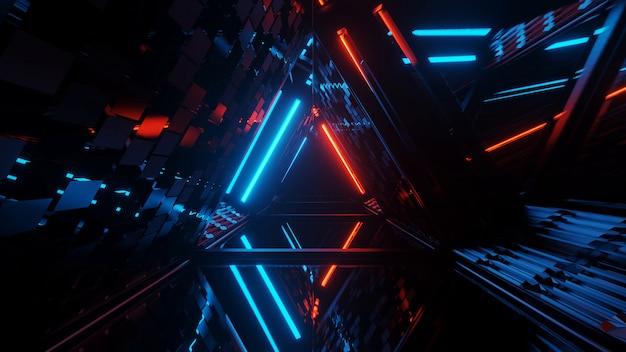 Genial figura triangular geométrica en una luz láser de neón, ideal para fondos y fondos de pantalla