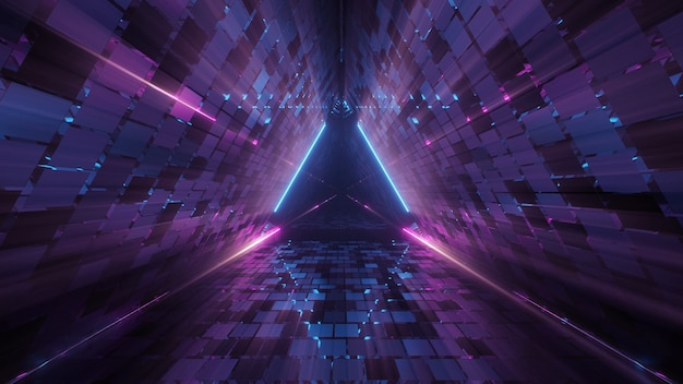 Genial figura triangular geométrica en una luz láser de neón, ideal para fondos