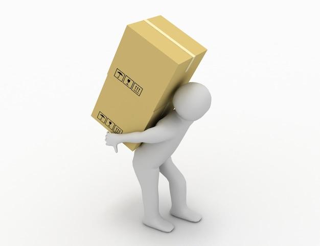 Gente 3d - el carácter humano lleva un paquete grande. ilustración de render 3d