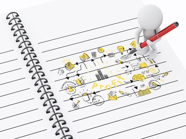 Gente blanca 3d y bloc de notas con bosquejo de negocios